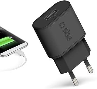 SBS USB充电器,带 1A - 充电插头,黑色,适用于 Apple iPhone 11,11 Pro,11 Pro Max,X,XS,XS Max,XR,8,8 Plus,7,7 Plus,三星 Galaxy S10E,S10+,S9,S...
