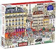 Galison Michael Storrings 巴黎拼图,1000 片,– 有趣且具有挑战性 – 一个迷人的巴黎场景,配有地铁、咖啡馆、商店和标志性的埃菲尔铁塔,20 x 27 英寸(约 50.8 x 68.58厘米