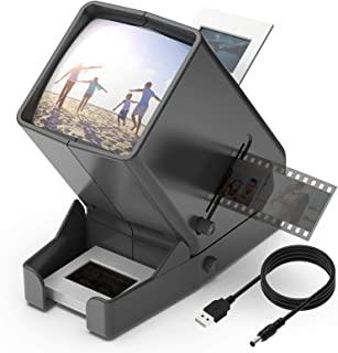 DIGITNOW!35 毫米幻灯片和胶片查看器,3 倍放大 LED 照明观看,USB 供电/电池操作 - 适用于 35 毫米幻灯片和正片负片(包括 4 节 AA 电池)