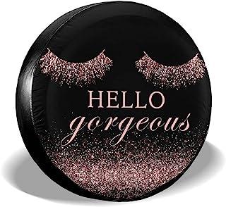 Hello Gorgeous 闪亮粉色睫毛轮胎套,轮胎保护,防风雨备用轮罩,适合女性女孩,四季耐用轮胎盖,适用于房车、越野车、卡车、露营车配件