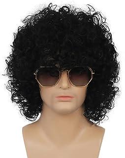 Kaneles 男士短款卷发黑色摇滚 70 年代 80 年代派对花式连衣裙万圣节假发黑色假发