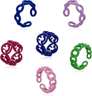 彩色粗环可爱树脂戒指时尚指环 Y2k 风格戒指 塑料和亚克力戒指 透明堆叠戒指 首饰礼物 适合女士和女孩