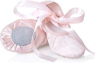 iCKER 女童粉色芭蕾舞鞋,分体鞋底,缎面芭蕾舞鞋平底鞋体操鞋 BA01(幼儿/小童/大童) 粉红色 5 Toddler