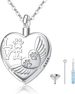 LOOVE 纯银奶油首饰灰烬,宠物缸项链狗猫灰烬纪念纪念品心形吊坠
