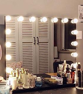 Hansong 大号化妆镜带灯,好莱坞照明镜,带 15 个可调光 LED 灯泡,适用于更衣室和桌面镜子或壁挂式,可拆卸的 10 倍放大聚光镜