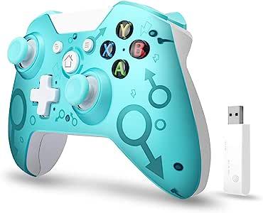 【2020*新版本】Xbox One无线控制器,W&O 无线电脑游戏手柄带2.4GHZ无线适配器,兼容Xbox One/One S/One X/P3主机/Windows 7/8/10(蓝色)