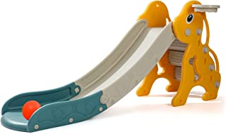 CuFun 儿童滑梯,幼儿游乐场滑梯攀岩器,超长滑梯斜坡带篮球圈,适用于室内室外后院使用(黄狗)
