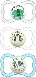 MAM AirNight&Day奶嘴(1天和2晚),适合6个月的婴儿,妈妈敏感皮肤奶嘴,母乳喂养婴儿的极佳奶嘴,夜光奶嘴,中性款