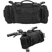 ZETOM 自行车包多功能重型防水 800D 尼龙牛津户外包、自行车把手和上管包、单肩包腰包、斜挎包(黑色)