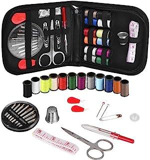 缝纫套装,配有 68 种缝纫配件,14 根线线线线轴 -12 种颜色,迷你缝纫工具,适合初学者、旅行者、急救、全家修复和修理