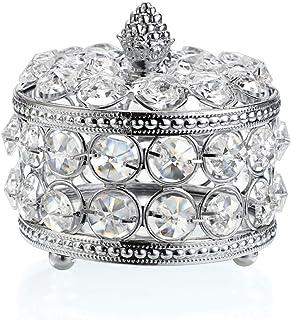 Hipiwe 水晶镜面首饰盒珠宝饰品收纳盒家居装饰戒指耳环项链收纳盒纪念品盒生日圣诞礼物