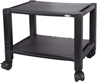 """Kantek Extra Wide 2-Shelf Under-Desk Mobile Printer Stand, 20""""x13.25""""x14.13"""", Black (PS610)"""