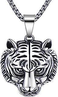 BBBGEM 男士钛钢动物首饰老虎/狮子头吊坠项链朋克摇滚男士珠宝,60.96 厘米链环,含礼品盒