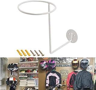 XIAO PEI 摩托车头盔展示架,壁挂式自行车头盔支架,头盔存储展示架球假发壁挂挂钩展示架多用途帽子支架(白色)