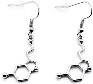 Serotonin 分子耳环 精神病学家礼物 心理学家礼物 神经学家 神经递质 快乐化学科学 化学 生物学 精神病 珠宝分子 礼物 科学 学生 老师 科学情人 礼物 血清素耳环