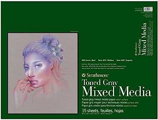"Strathmore 400 系列 Toned Mixed Media Pad 胶水床,每张 15 张 灰色 18"" x 24"" 462-318"