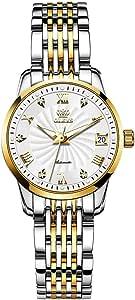自动手表女式机械自动上弦 OLEVS 正装手表金色奢华防水不锈钢女士腕表
