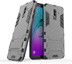 DWaybox 钢铁侠设计 2 合 1 混合重型装甲硬质手机壳带支架适用于 Samsung Galaxy J8 2018 6.0 英寸Samsung Galaxy J8 2018 6.0 Inch Samsung Galaxy J8 2018 灰色