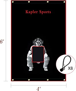 Kapler 乙烯基 Backstop 棒球/垒球 防水布 Backstop 击球笼 靶子带弹力 4x6