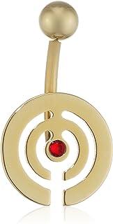 纯灰色中性款红色明亮式切割方晶锆石吊饰 脐环 脐环 穿刺钛 德国制造 - 珠宝永恒 Ybells 14 ZRN LS