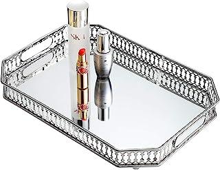 Hipiwe Vanity 化妆镜托盘 - 金属珠宝饰品收纳盒托盘大号化妆品香水托盘家居装饰托盘,适用于梳妆台浴室卧室台面,银色
