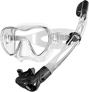 Keystand 干式*浮潜面罩,*潜水*管套装,可调节尺寸浮潜装备,适合儿童和成人,防雾防漏钢化玻璃,180° 全景水肺面罩套装游泳装备
