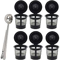 可重复使用 K Cups 适用于 Keurig 2.0 和 1.0 Brewers 通用可填充单杯咖啡过滤咖啡壶,咖啡勺…