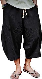EKLENTSON 男式七分裤短裤,膝盖以下宽松松紧抽绳锥形休闲亚麻短裤 男式