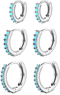 3 对 14K 镀金小号 Huggie 耳环 - 20g Tragus Helix 软骨海螺耳环 立方氧化锆箍 耳口 鼻环 * 珠宝礼物 适合女士男士女孩 (6mm/8mm/10mm)