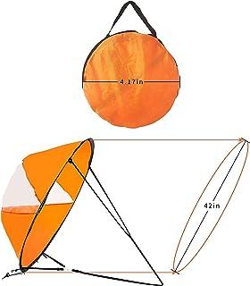N\C 皮划艇下风帆 42 英寸(约 106.7 厘米)即时弹出式帆,适用于皮艇独木舟桨板划船船衬垫双排和远征船,下风帆帆冲浪,带透明窗口和储物袋