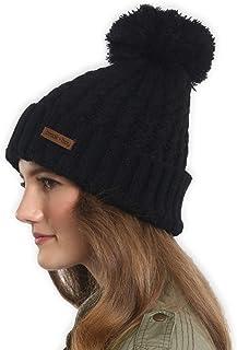 Brook + Bay Pom 毛线帽 - 保持温暖时尚 - 厚实、柔软和粗线编织无檐小便帽男女皆宜 - Serious Style 可戴无檐小便帽