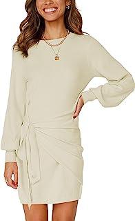 VTSGN 女式灯笼袖针织毛衣连衣裙紧身褶饰腰带迷你连衣裙