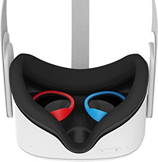 AMVR [专业版] 镜片防刮环保护近视眼镜免受刮伤 VR 耳机镜头兼容 Oculus Quest 2、Quest 、Rift S 或 Oculus Go(红色和蓝色)