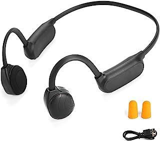 Bone Conduction 耳机蓝牙 5.0 开放式耳无线钛轻质防汗手机通话运动耳机 HiFi 立体声耳塞带麦克风,适用于慢跑、跑步、驾驶、骑行(黑色灰色)