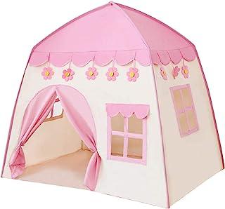 EMVANV 儿童城堡游戏帐篷 便携式室内和室外儿童 Tipi 帐篷游戏屋公主城堡游戏生日礼物男孩和女孩(粉色)