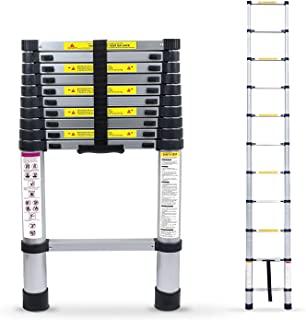 10.5 英尺(约 2.5 米)铝制伸缩梯子多功能伸缩梯子便携式重型步梯防滑橡胶脚 350 磅(约 149.7 千克)*大容量