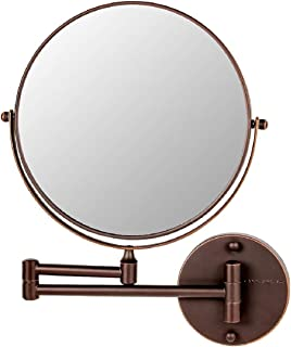 Ovente 壁挂式化妆镜 9 英寸(约 22.4 厘米)带 10 倍放大和可伸展手臂,双面带 360 度旋转机构和零失真,古铜色(MNLFW90ABZ1X10X)