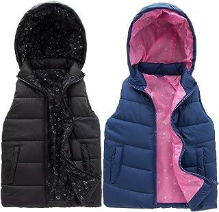 SNOW DREAMS 男童羽绒背心连帽绗缝外套无袖夹克衬里拉链马甲
