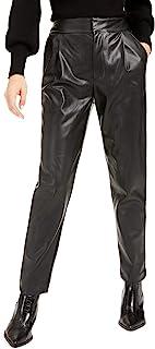 Bar III 女式人造革褶饰直筒裤