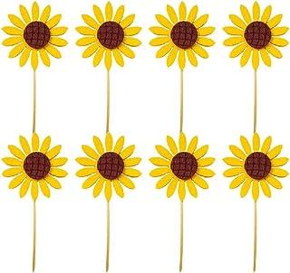 The Crafty 猫头鹰鲜花带*叶/黄色向日葵纸杯蛋糕装饰。12 件套(向日葵)