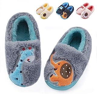 幼儿男孩女孩保暖柔软拖鞋棉质可爱蓬松毛绒小儿童拖鞋毛皮衬里防滑动物室内或室外鞋
