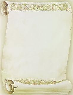 优质纸张! 现代滚轴信纸,80 支,21.59 cm x 27.94 cm (2013185) Florentine Scroll