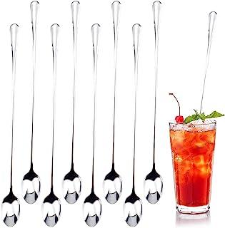 8 件咖啡勺,冰茶勺长柄勺,12 英寸(约 30.4 厘米)不锈钢鸡尾酒搅拌勺,冰淇淋勺,用于混合茶,咖啡,奶昔,冷饮,家庭和办公室(银色)