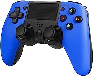 SADES PS4 控制器无线控制器,适用于 Playstation 4 / Pro / Slim 带运动马达和音频功能,迷你 LED 指示器,USB 线和防滑(黑色)