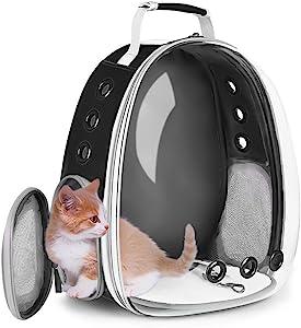 猫背包,大号宠物背包泡泡,小狗背包背包,适用于小型犬,便携式携带包,适用于猫和兔子,航空公司认证防水宠物背包,适合徒步户外使用(黑色)