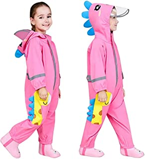 儿童连体雨衣男孩女孩雨衣连帽中性款水坑套装 3D 图案防水雨披透明帽反光条纹