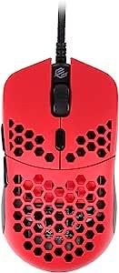 Gwolves Hati HTS 超轻蜂窝设计有线游戏鼠标 3360 传感器 - PTFE 滑冰 - 6 个按钮 - 50 克(红色)