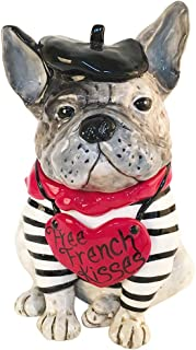 Blue Sky Ceramics Free French Kisses Bull Dog Treat 罐,多种颜色