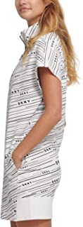 D K N Y 运动陨石标志印花连衣裙,白色 XL 码