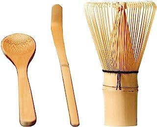 日式茶具套装 抹茶搅拌器 传统勺子 茶匙 竹制搅拌器 带钩竹勺和勺子套装(如图)